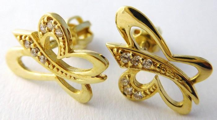 Gravírované zlaté náušnice - motýlky pro štěstí na šroubek 585/1,80gr T221 (POŠTOVNÉ ZDARMA!!!!)