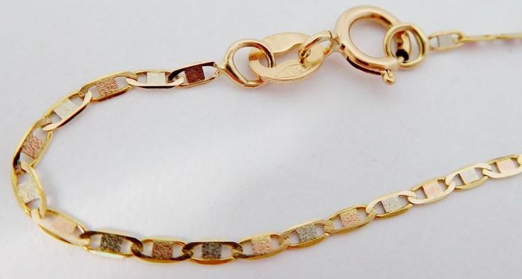 Zlatý náramek z růžového,žlutého a bílého zlata 585/0,76gr 19cm H122