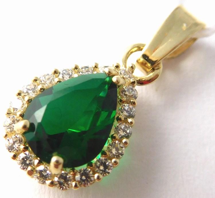 Zlatý přívěsek se zeleným smaragdem a zirkony slzička 585/1,14gr H754