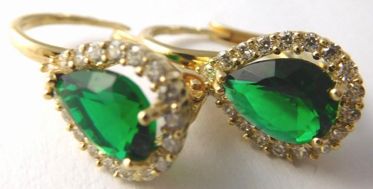 Mohutné zlaté náušnice se zelenými smaragdy 585/3,22gr H755 (POŠTOVNÉ ZDARMA!!)