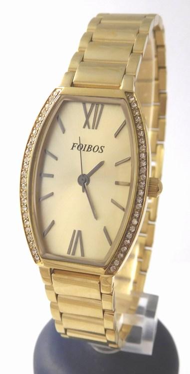 Dámské zlacené přehledné ocelové hodinky Foibos 1x13 se zirkony 3ATM a6d6435cb8c