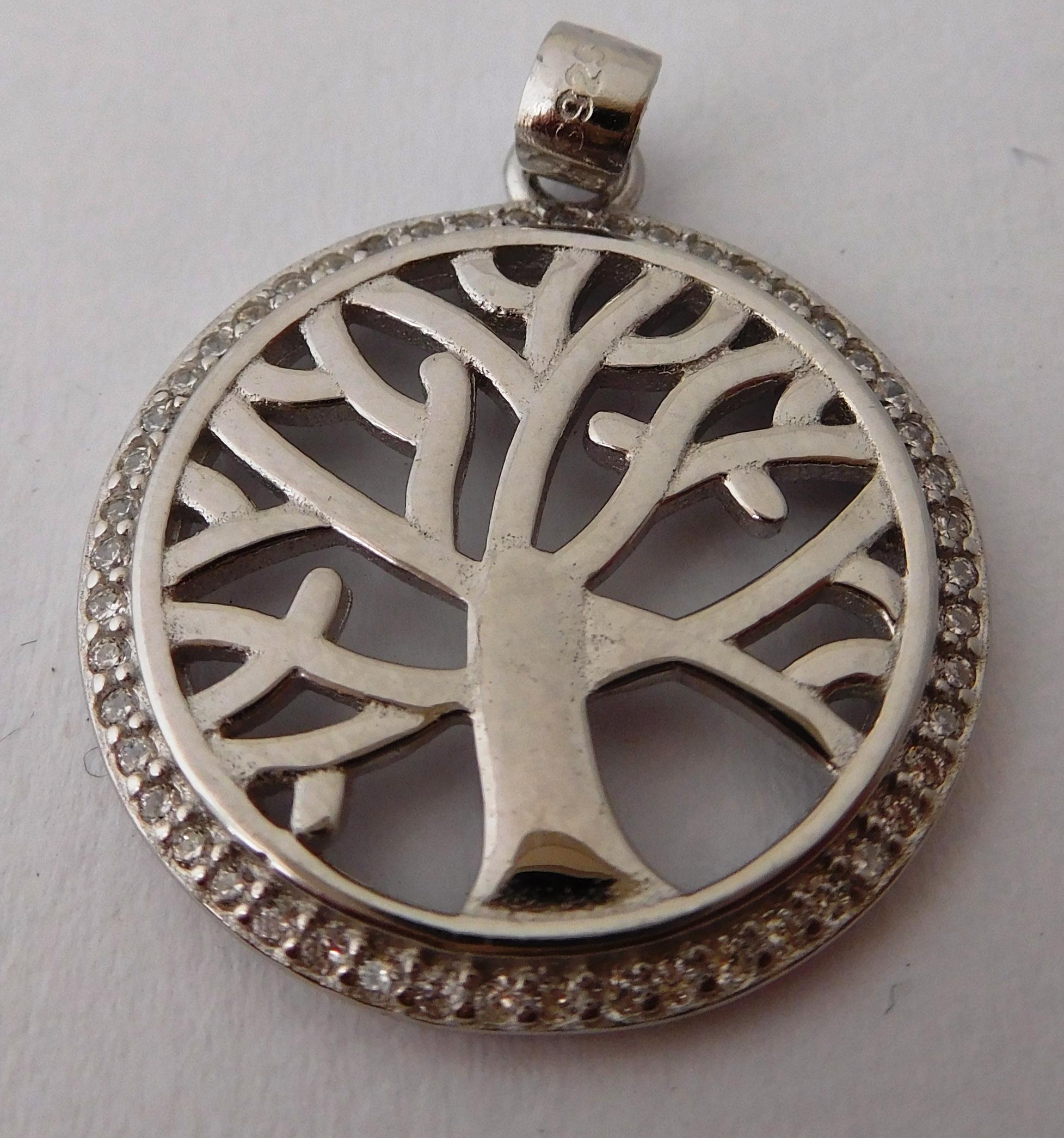 Krásný stříbrný přívěšek se zirkony - strom života 0304472200002