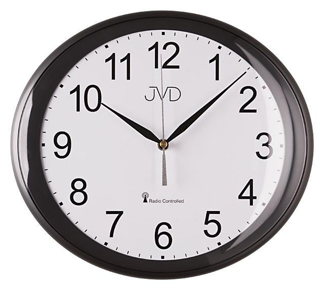 Černé přesné rádiem řízené hodiny JVD RH64.1