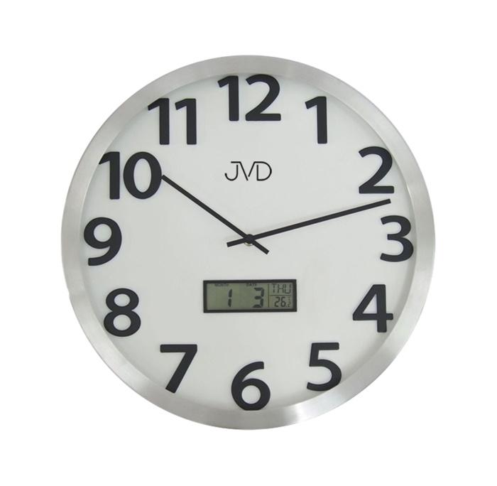 Kovové nástěnné hodiny JVD HO047.2 s digitálním teploměrem a ukazatelem data (POŠTOVNÉ ZDARMA!!)