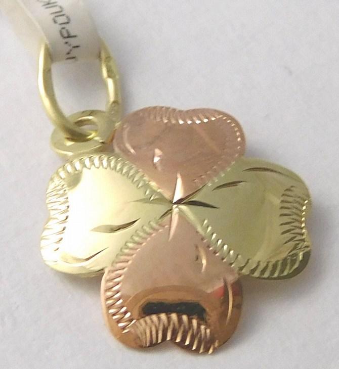 Zlatý čtyřlístek pro štěstí s gravírováním 585/0,67g 3220179 (3220179 )