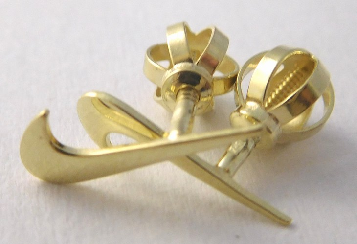 Zlaté pecičky zlaté pecky náušnice ve tvaru NIKE na šroubek 585/0,68gr 231041013 (231041013)