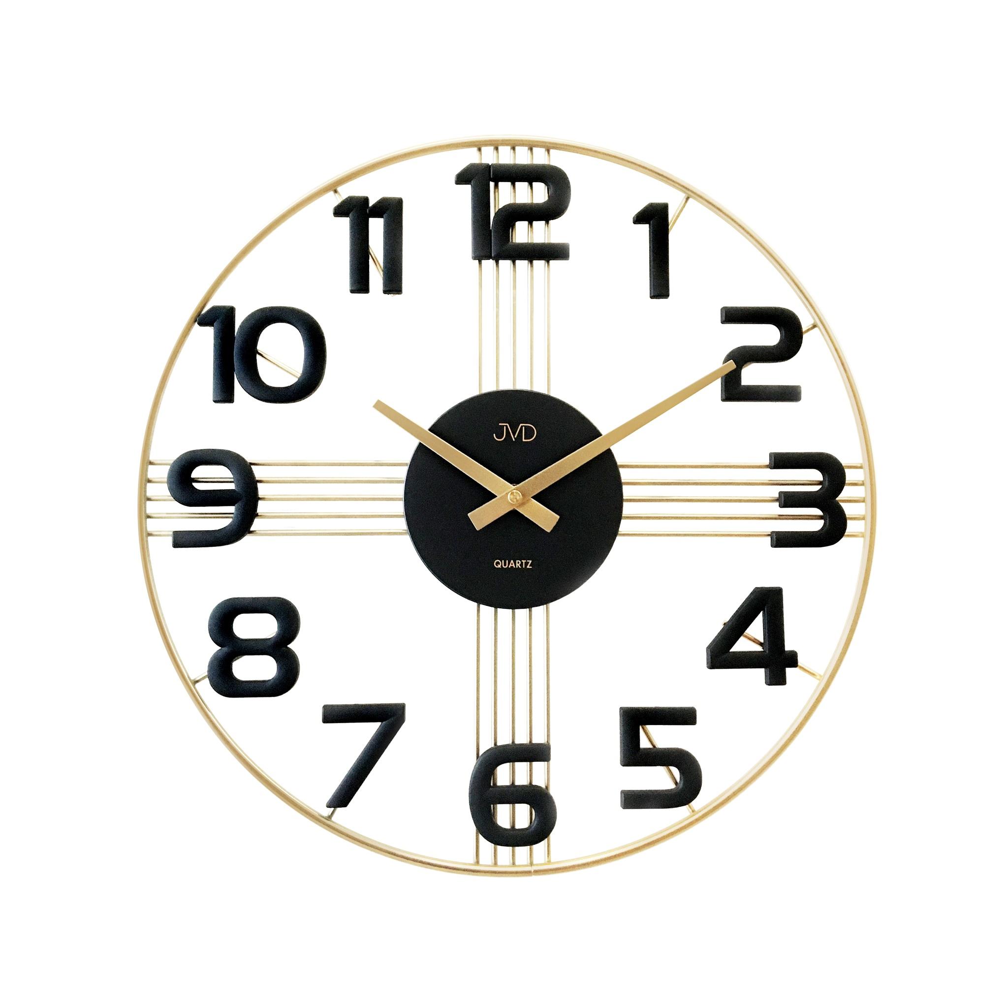 Designové kovové luxusní nástěnné hodiny JVD HT051.3 do moderního bytu (POŠTOVNÉ ZDARMA!!)