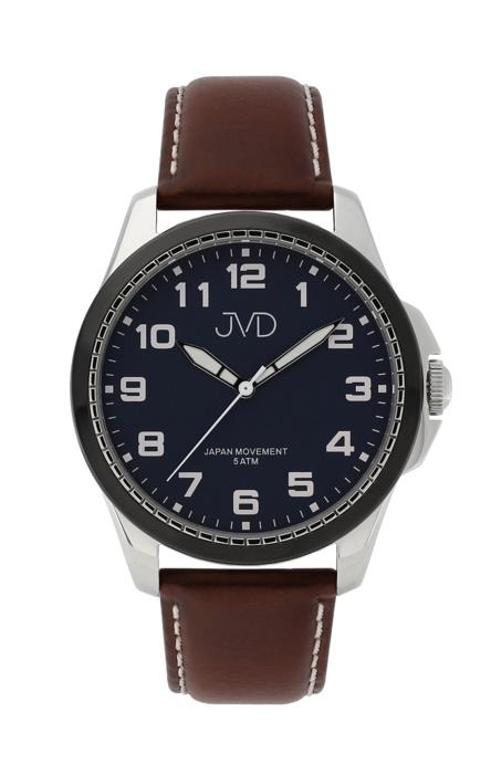 14a277f5878 Pánské luxusní náramkové hodinky JVD J1110.2 na koženém pásku ...
