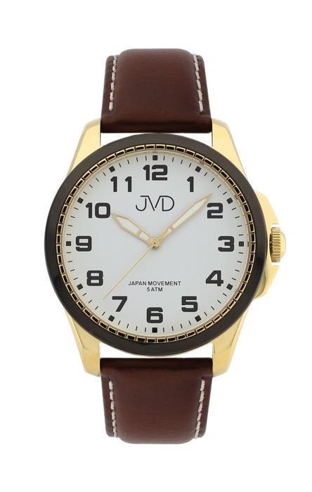 22bd96d671c Pánské luxusní náramkové hodinky JVD J1110.4 na koženém pásku