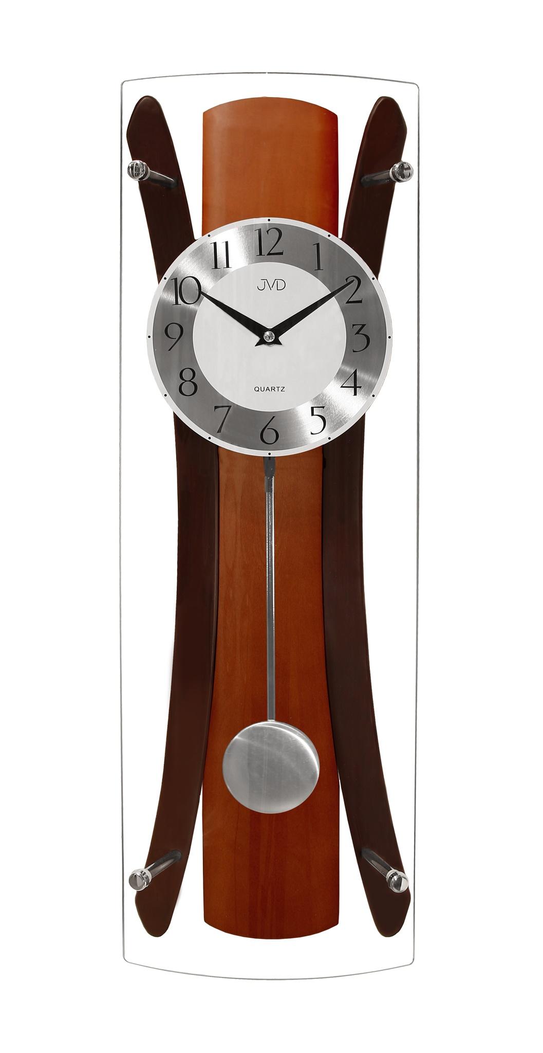 Kyvadlové dřevěné skleněné nástěnné hodiny JVD N16022/41 (POŠTOVNÉ ZDARMA!!)