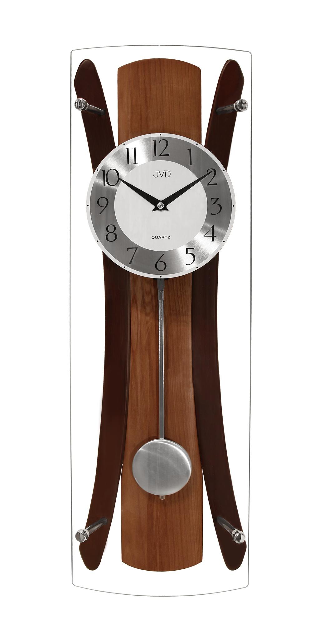 Kyvadlové dřevěné skleněné nástěnné hodiny JVD N16022/11 (POŠTOVNÉ ZDARMA!!)