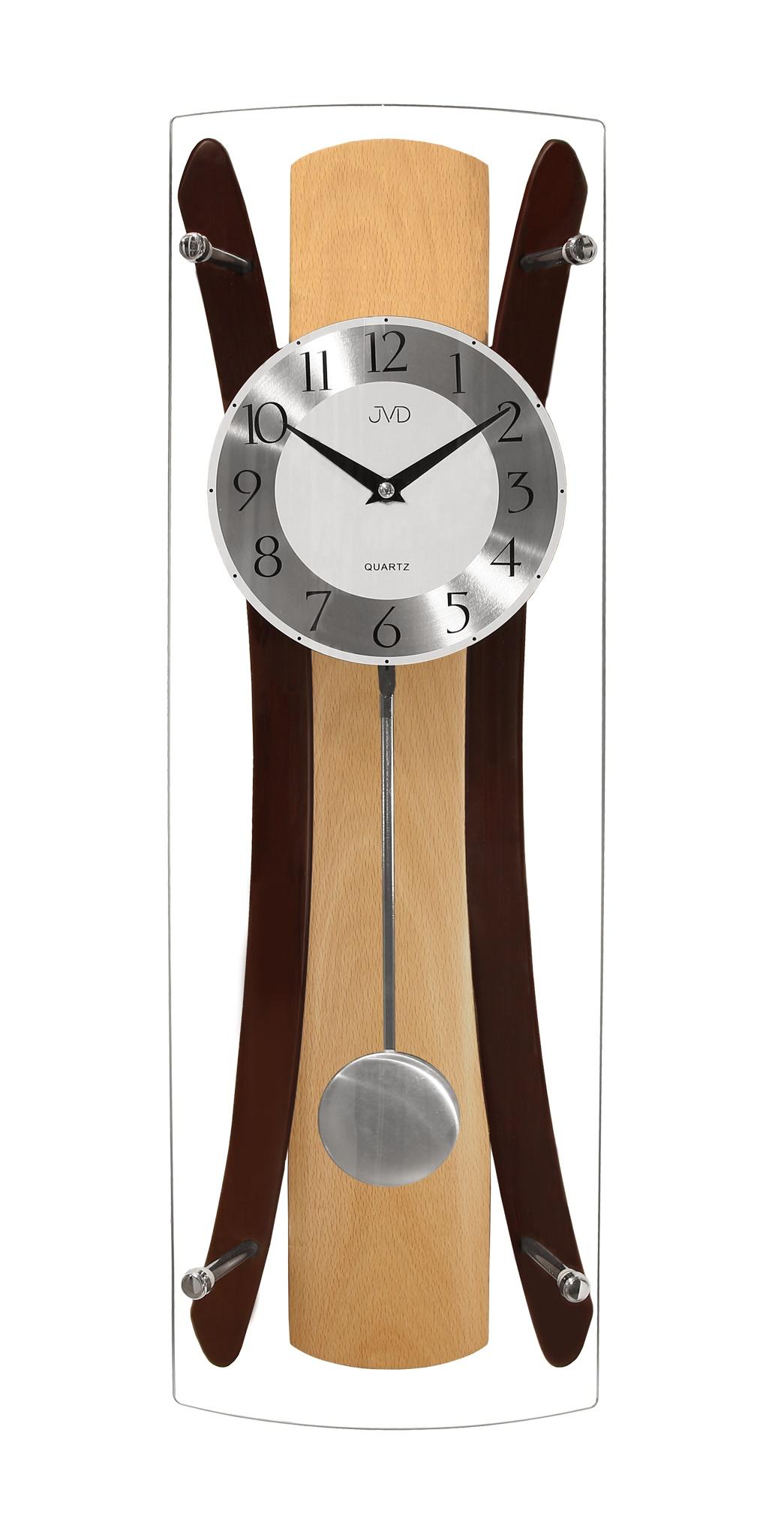 Kyvadlové dřevěné skleněné nástěnné hodiny JVD N16022/68 (POŠTOVNÉ ZDARMA!!)