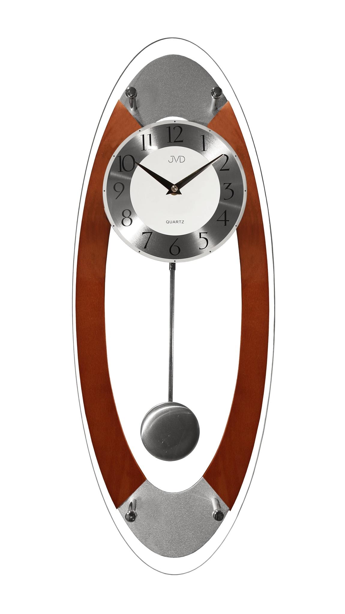 Kyvadlové dřevěné skleněné nástěnné hodiny JVD N16024/41 (POŠTOVNÉ ZDARMA!!)