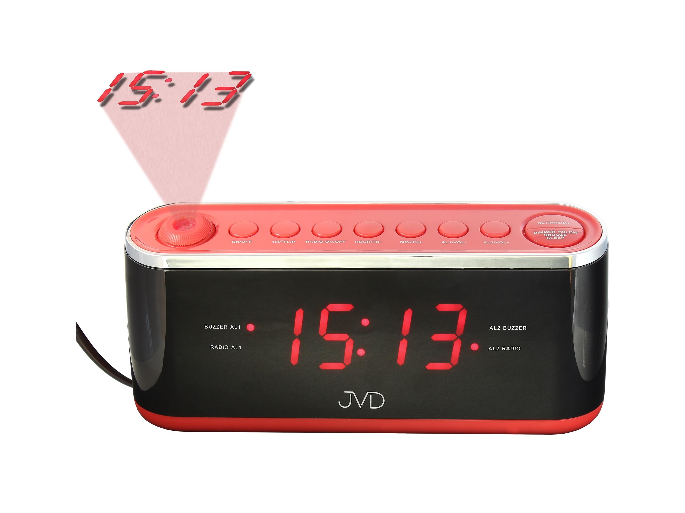 Červený digitální budík do sítě JVD SB97.1 s projektorem času a teploty (POŠTOVNÉ ZDARMA!! - červený)