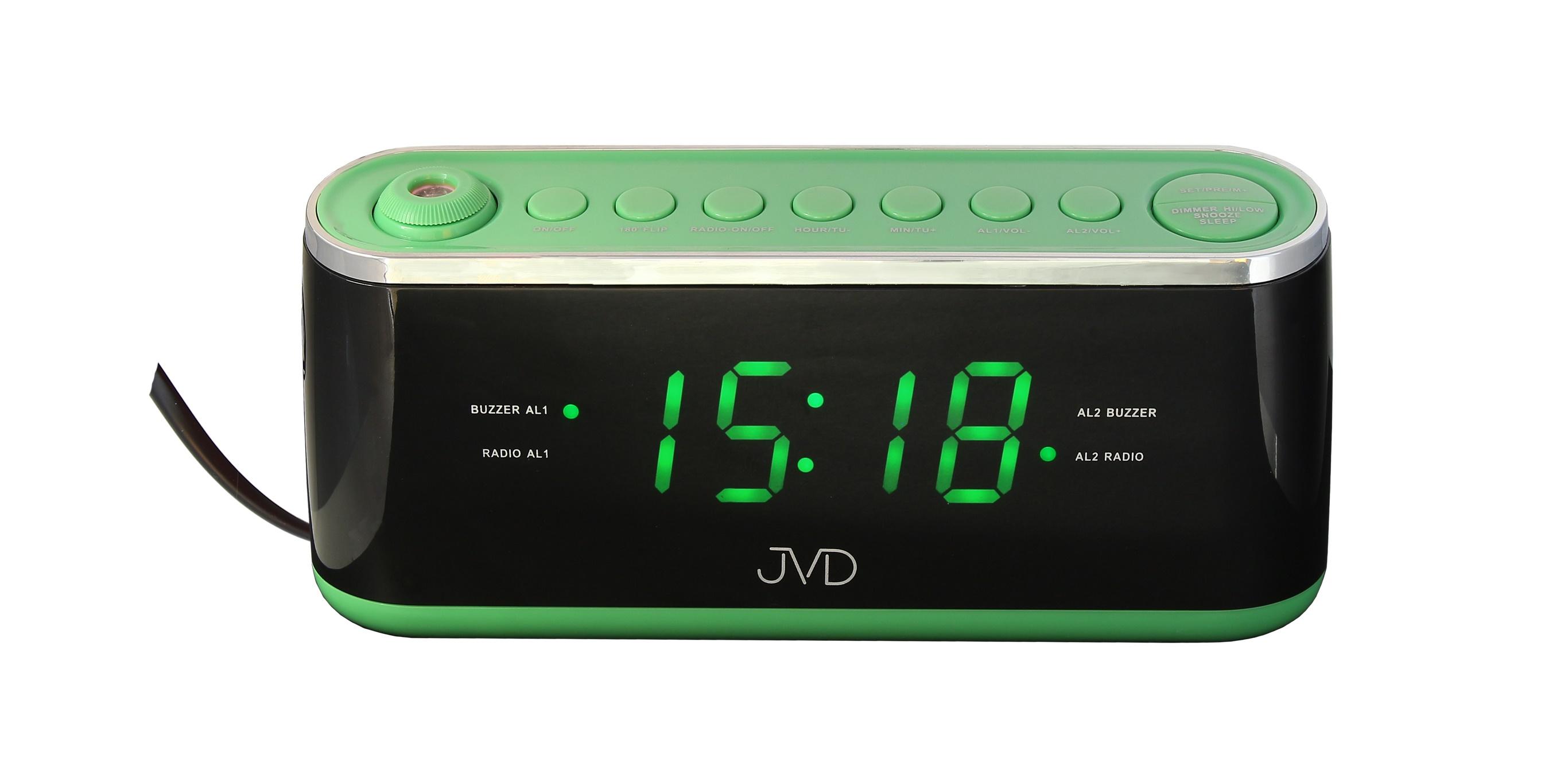 Zelený digitální budík do sítě JVD SB97.2 s projektorem času a teploty (POŠTOVNÉ ZDARMA!! - Zelený)