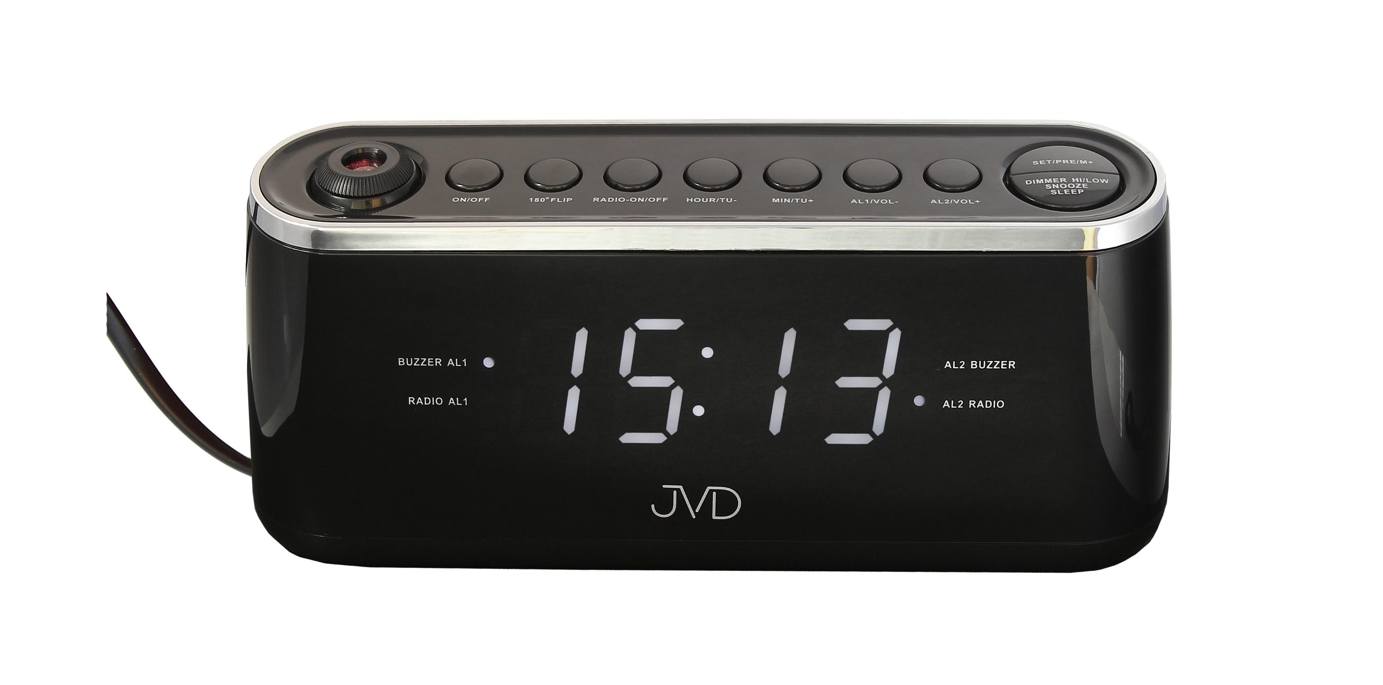 Černý digitální budík do sítě JVD SB97.3 s projektorem času a teploty (POŠTOVNÉ ZDARMA!! - Černý)