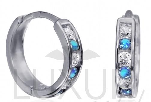 Dívčí náušnice - zlaté kroužky s modrými topazy 585/1,17gr 1181195 (1181195 - POŠTOVNÉ ZDARMA)