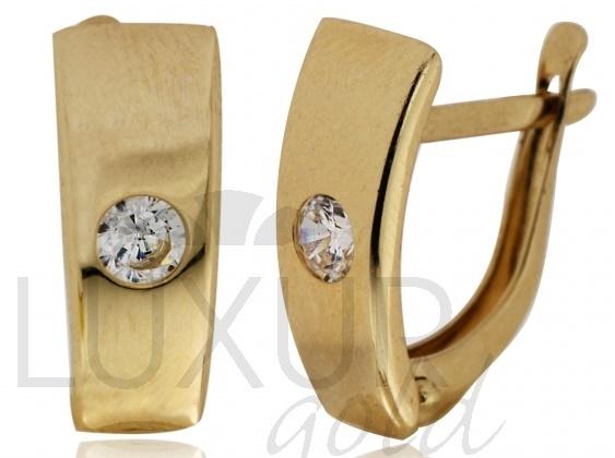 Zlaté náušnice - zlaté čtvrtkroužky s jedním zirkonem 585/1,50gr 1431139 (1431139)