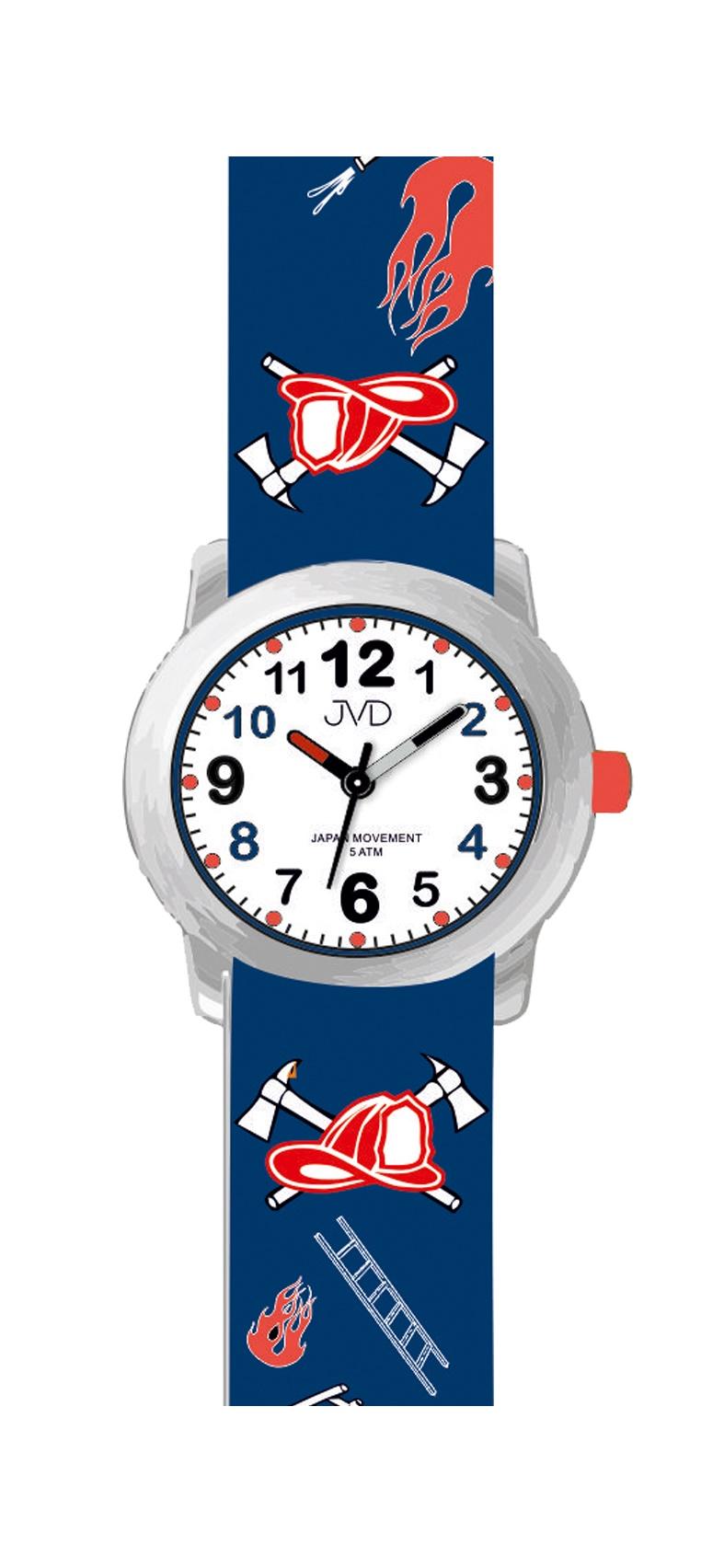 Dětské chlapecké náramkové hodinky JVD J7172.2 pro malé hasiče (hasičské motivy - modré)