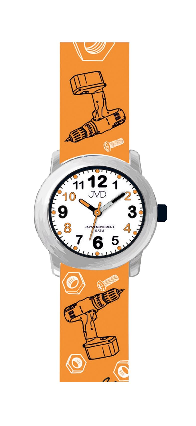 Dětské náramkové hodinky JVD J7175.1 pro dětské kutily (motivy nářadí, šroubů a matek na řemínku)