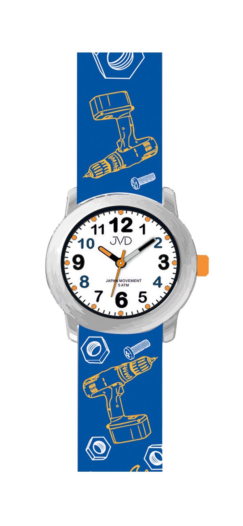 Dětské chlapecké náramkové hodinky JVD J7175.2 pro dětské kutily (motivy nářadí, šroubů a matek na řemínku)
