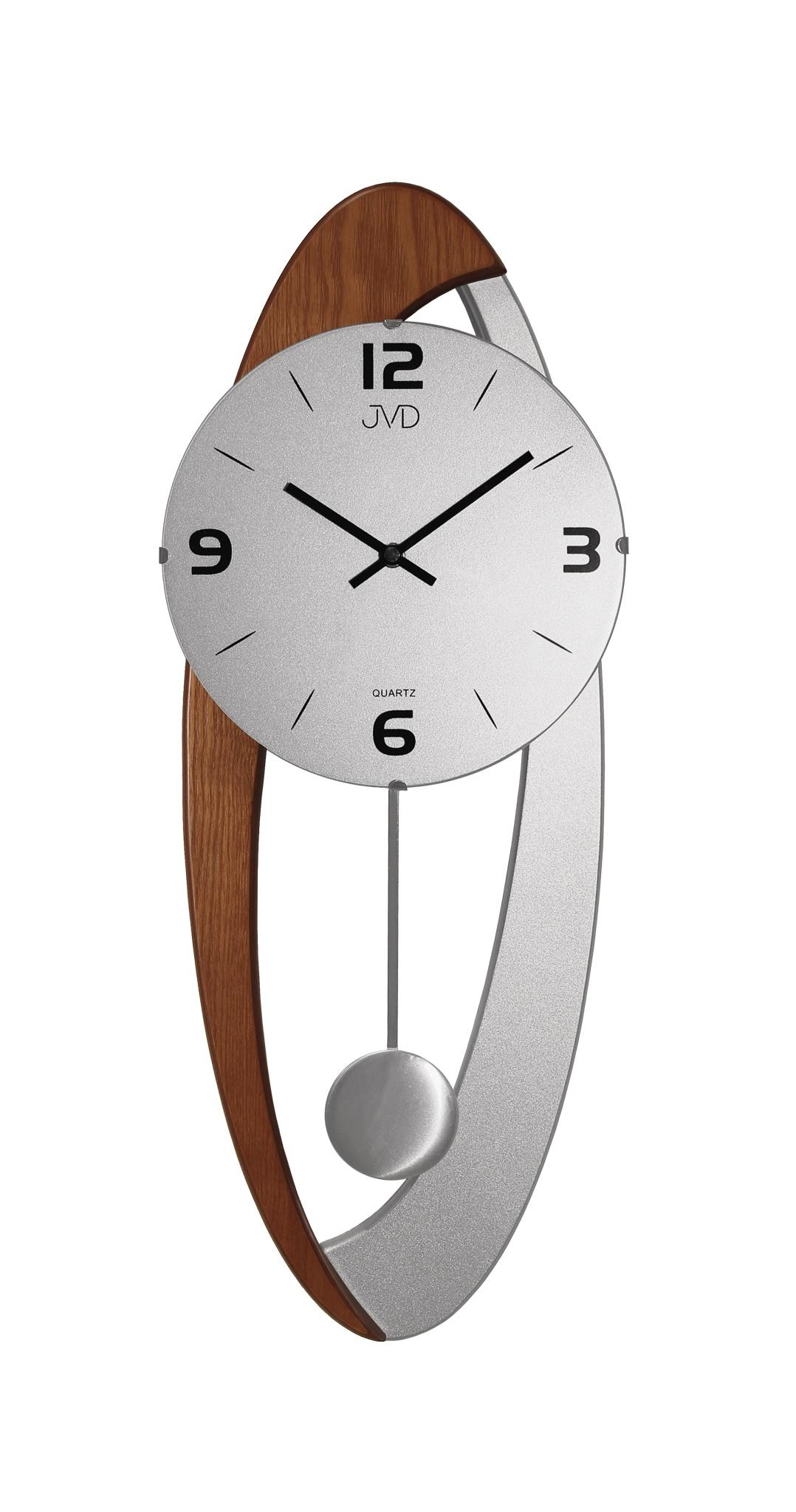 Dřevěné skleněné designové kyvadlové nástěnné hodiny JVD N15021/11 (POŠTOVNÉ ZDARMA!!)