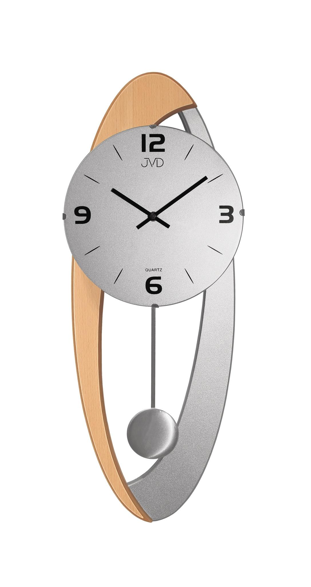 Dřevěné skleněné designové kyvadlové nástěnné hodiny JVD N15021/68 (POŠTOVNÉ ZDARMA!!)