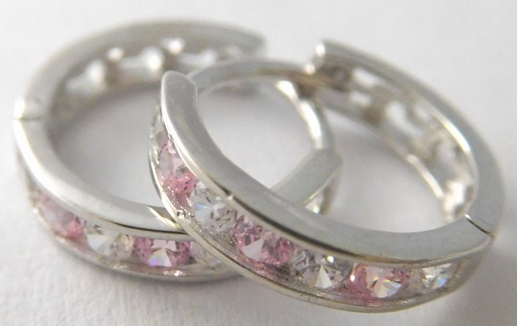 Dívčí náušnice - zlaté kroužky s růžovými růženíny 585/1,05gr 1181195 (1181195 - POŠTOVNÉ ZDARMA)