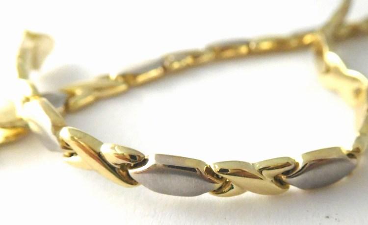 Luxusní mohutný zlatý náramek z dvojího zlata 585/3,79gr 19cm H768