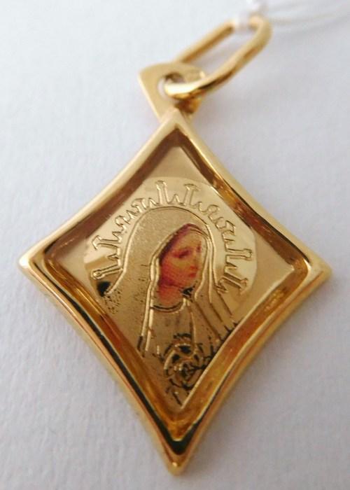 Zlatý přívěsek - zlatá madonka s gravírováním (obrázek) 585/0,56gr H783