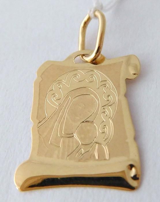 Zlatý přívěsek - zlatá madonka s dítětem s gravírováním 585/0,51gr H784 (na pergamenu)