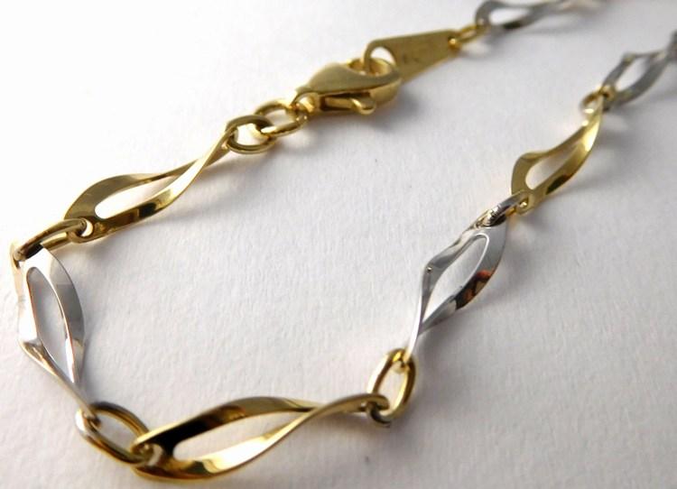 Mohutný zlatý ozdobný náramek z bílého a žlutého zlata 17cm 585/3,37gr 1440805 (1440805 - POŠTOVNÉ ZDARMA!!!!)