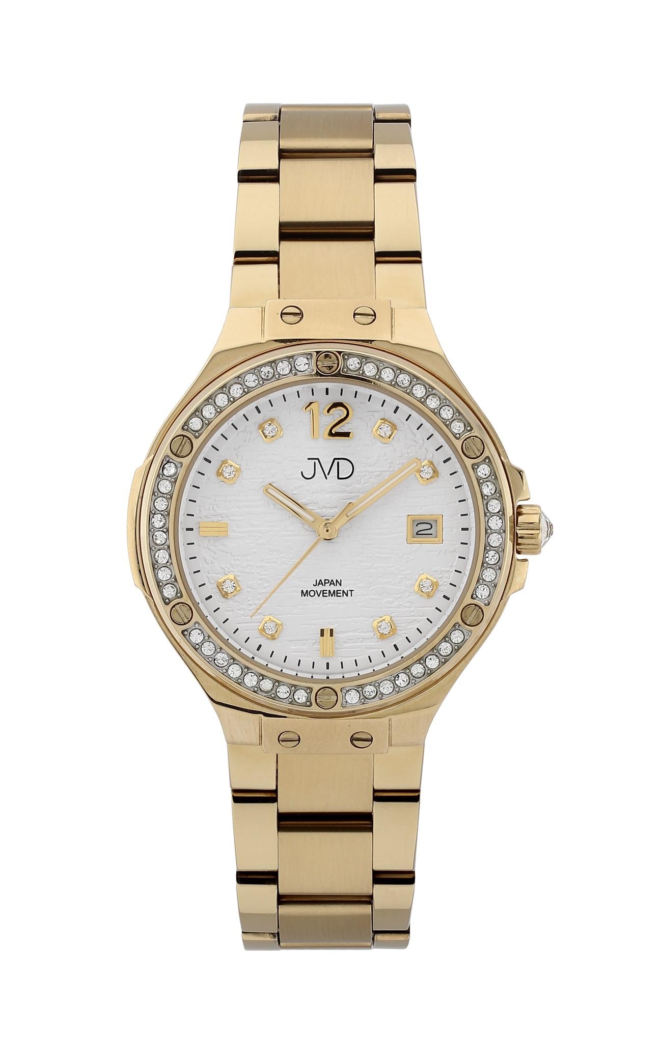 Luxusní dámské ocelové hodinky JVD JC032.1 se zirkony okolo číselníku 33819b81864