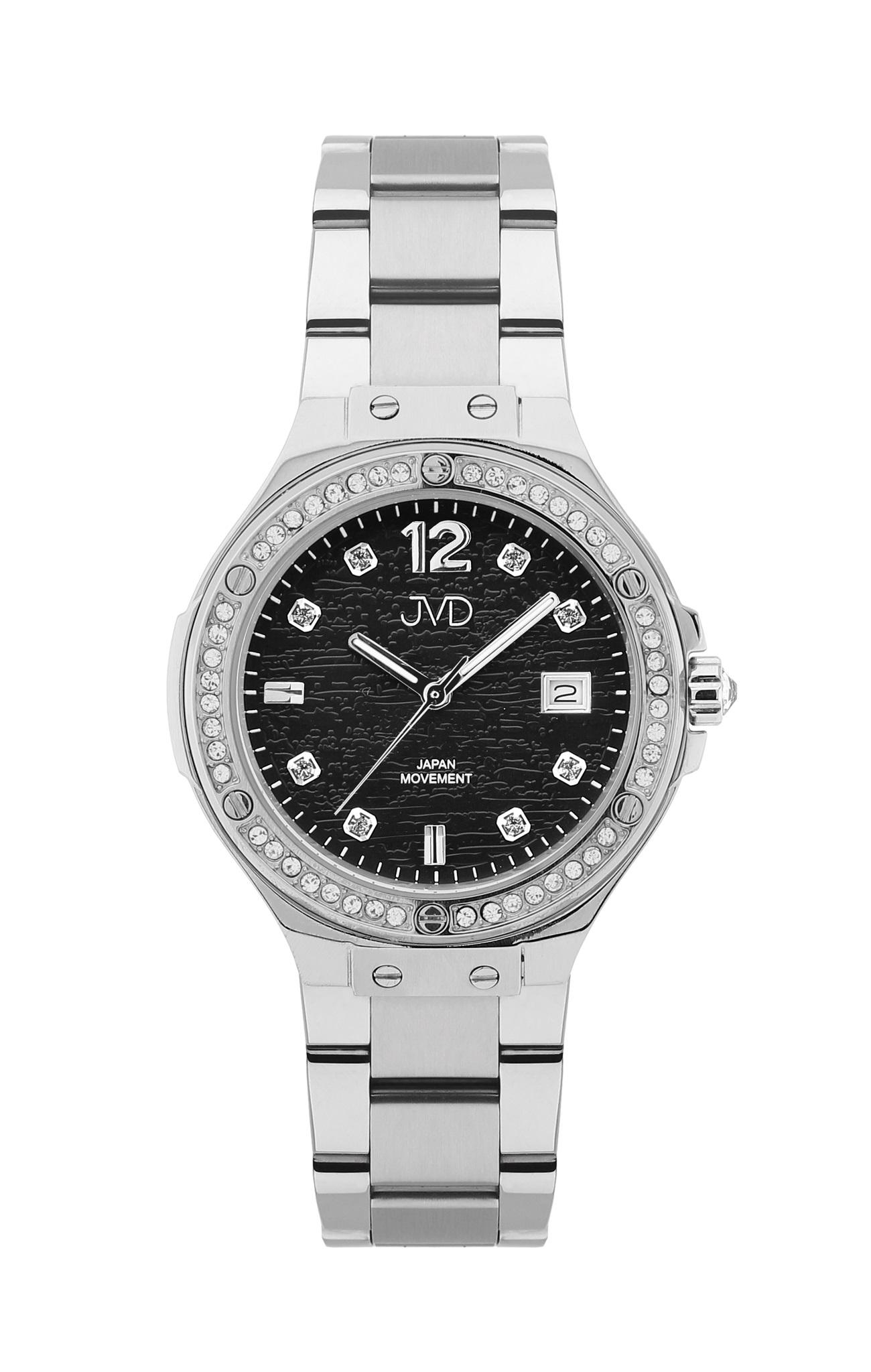 Luxusní dámské ocelové hodinky JVD JC032.3 se zirkony okolo číselníku 108f3515c32