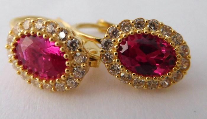 Luxusní zlaté náušnice se zirkony a velkými červenými rubíny 585/2,20gr 1156087 (1156087 - POŠTOVNÉ ZDARMA!!!!)