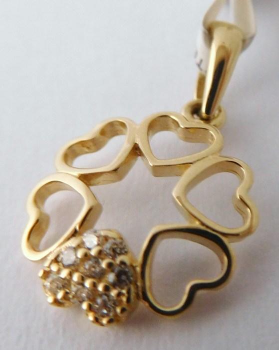 Zlatý přívěsek - zlatý čtyřlístek pro štěstí (srdíčka) 585/0,70gr 1120579 (1120579 - POŠTOVNÉ ZDARMA)