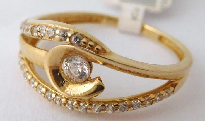 Luxusní mohutný dámský zlatý prsten se zirkony 585/1,35gr vel. 51 1114099 (1114099 - POŠTOVNÉ ZDARMA)
