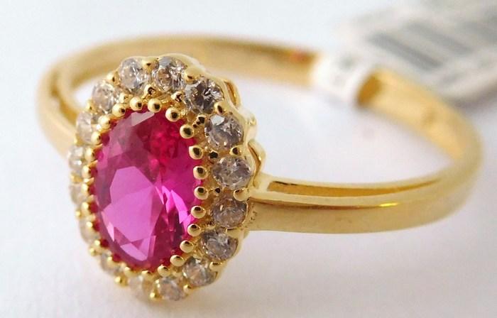 Luxusní mohutný zásnubní zlatý prsten s rubínem 585/1,60gr vel. 56 1156085 (1156085 - POŠTOVNÉ ZDARMA)