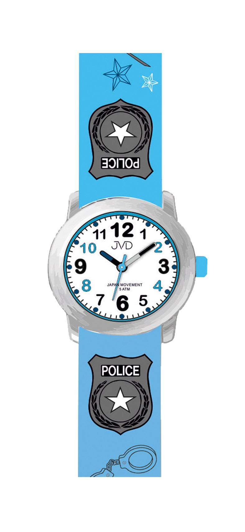 Dětské náramkové chlapecké hodinky JVD J7173.1 pro malého policistu