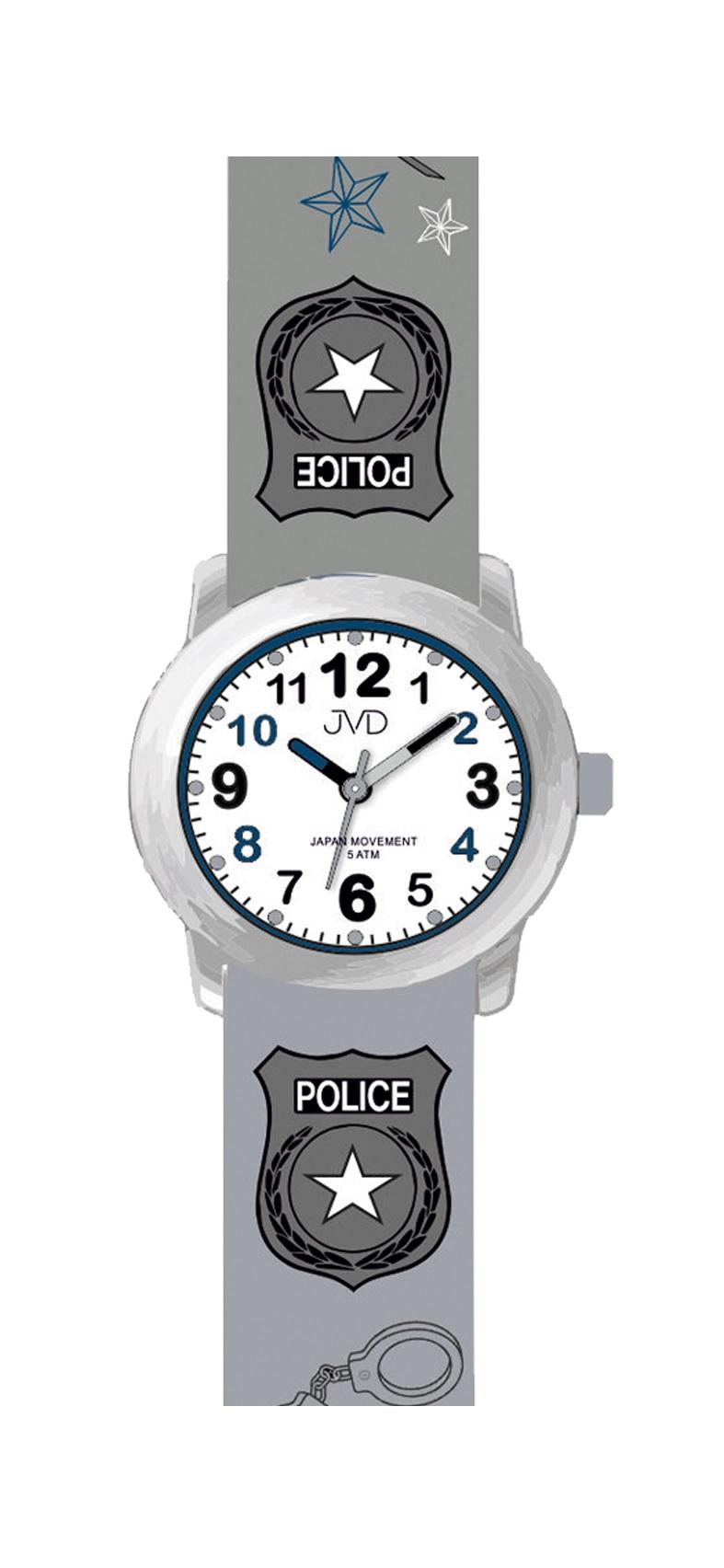 Dětské náramkové chlapecké hodinky JVD J7173.2 pro malého policistu