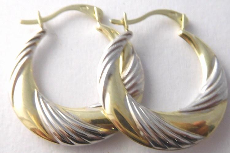 Zlaté gravírované kruhy z dvojího zlata pr. 18mm 585/1,05gr 1930303