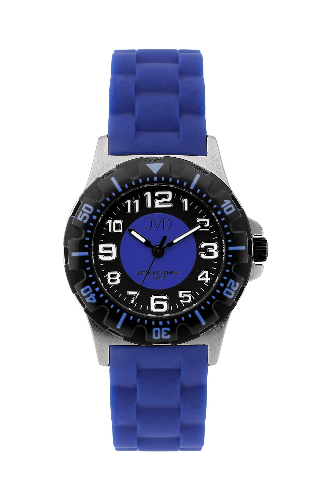 Chlapecké dětské vodotěsné sportovní hodinky JVD J7168.5 - 5ATM (modré chlapecké voděodolné hodinky)