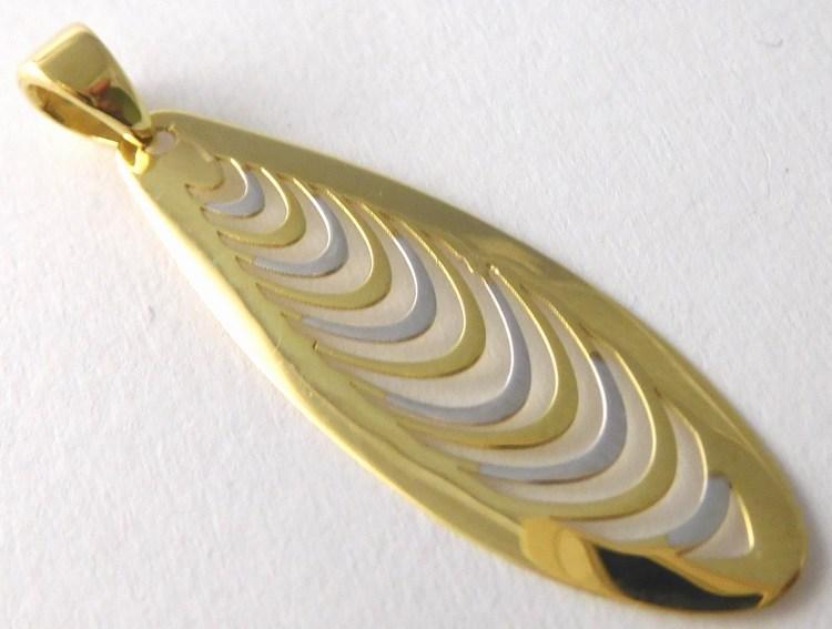 Velký gravírovaný zlatý přívěsek z bílého a žlutého zlata 585/0,82gr 1420939 (1420939 - POŠTOVNÉ ZDARMA)