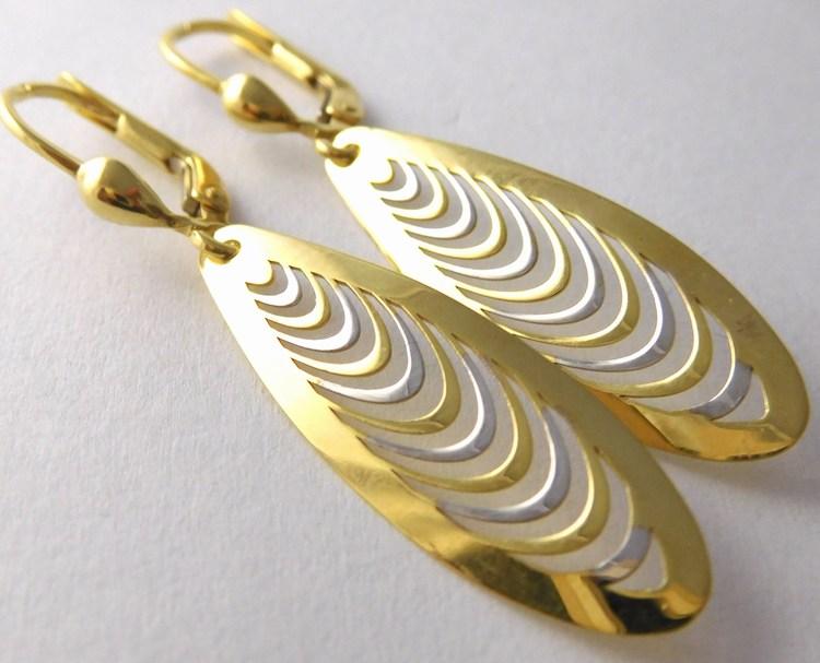 Velké zlaté visací náušnice z bílého a žlutého zlata 585/2,22gr 1431618 (1431618 - POŠTOVNÉ ZDARMA)