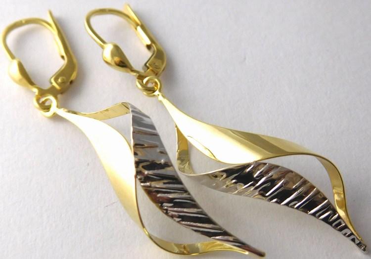 Velké zlaté visací náušnice z bílého a žlutého zlata 585/2,32gr 1431597 (1431597 - POŠTOVNÉ ZDARMA)
