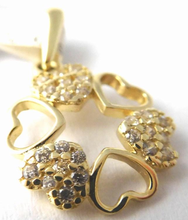 Zlatý přívěsek - zlatý čtyřlístek pro štěstí (srdíčka) 585/0,82gr 1120578 (1120578 - POŠTOVNÉ ZDARMA)