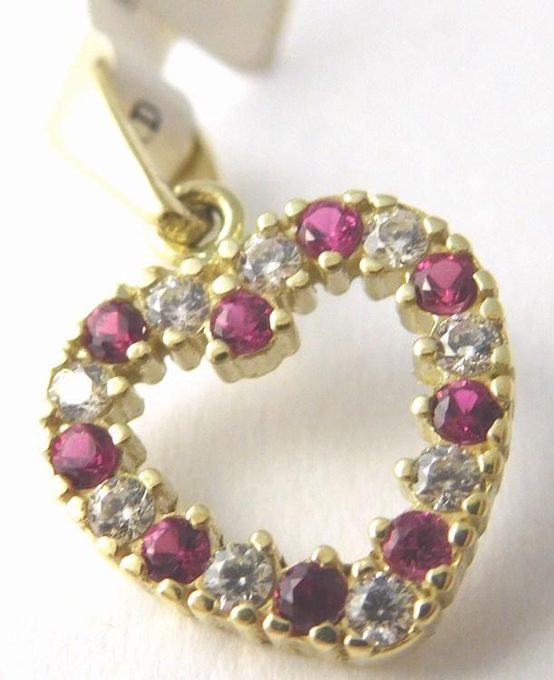 Krásné zlaté srdíčko - přívěsek poseté zirkony a rubíny 585/1,05gr 6820609 (6820609 - POŠTOVNÉ ZDARMA)