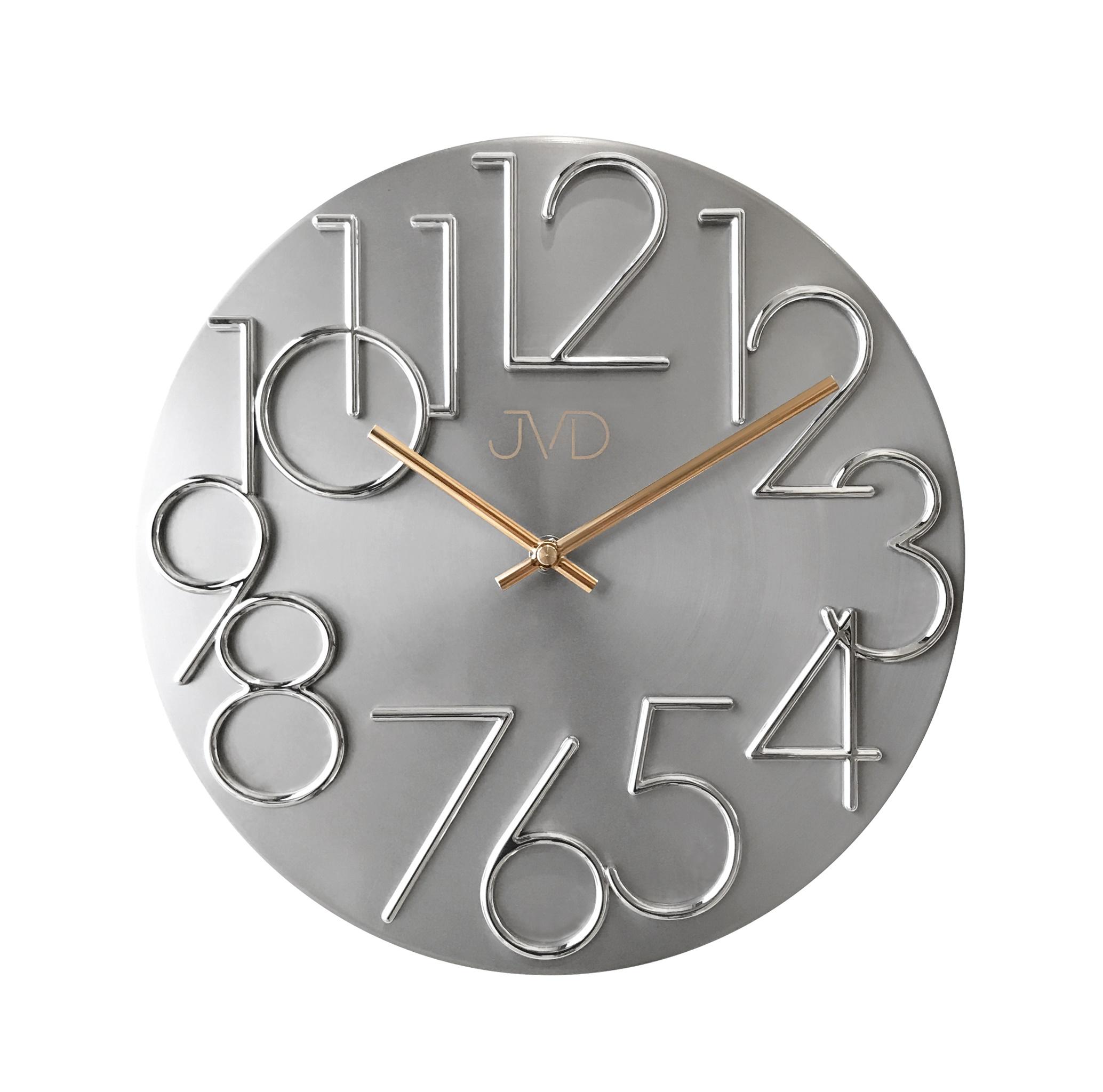 Kovové designové nástěnné stříbrné hodiny JVD HT23.1 (POŠTOVNÉ ZDARMA!!)