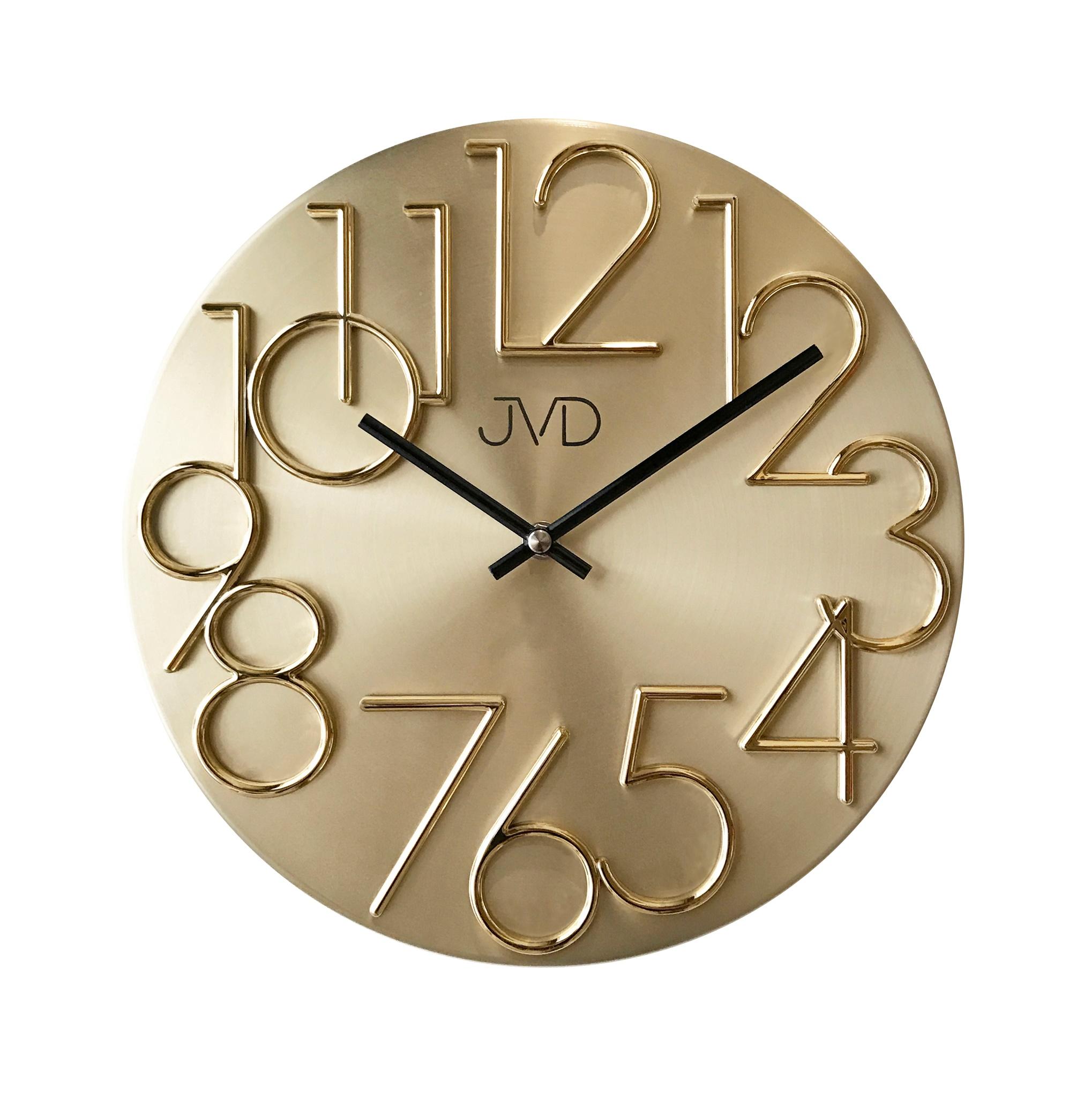 Kovové designové nástěnné zlaté hodiny JVD HT23.2 (POŠTOVNÉ ZDARMA!!)