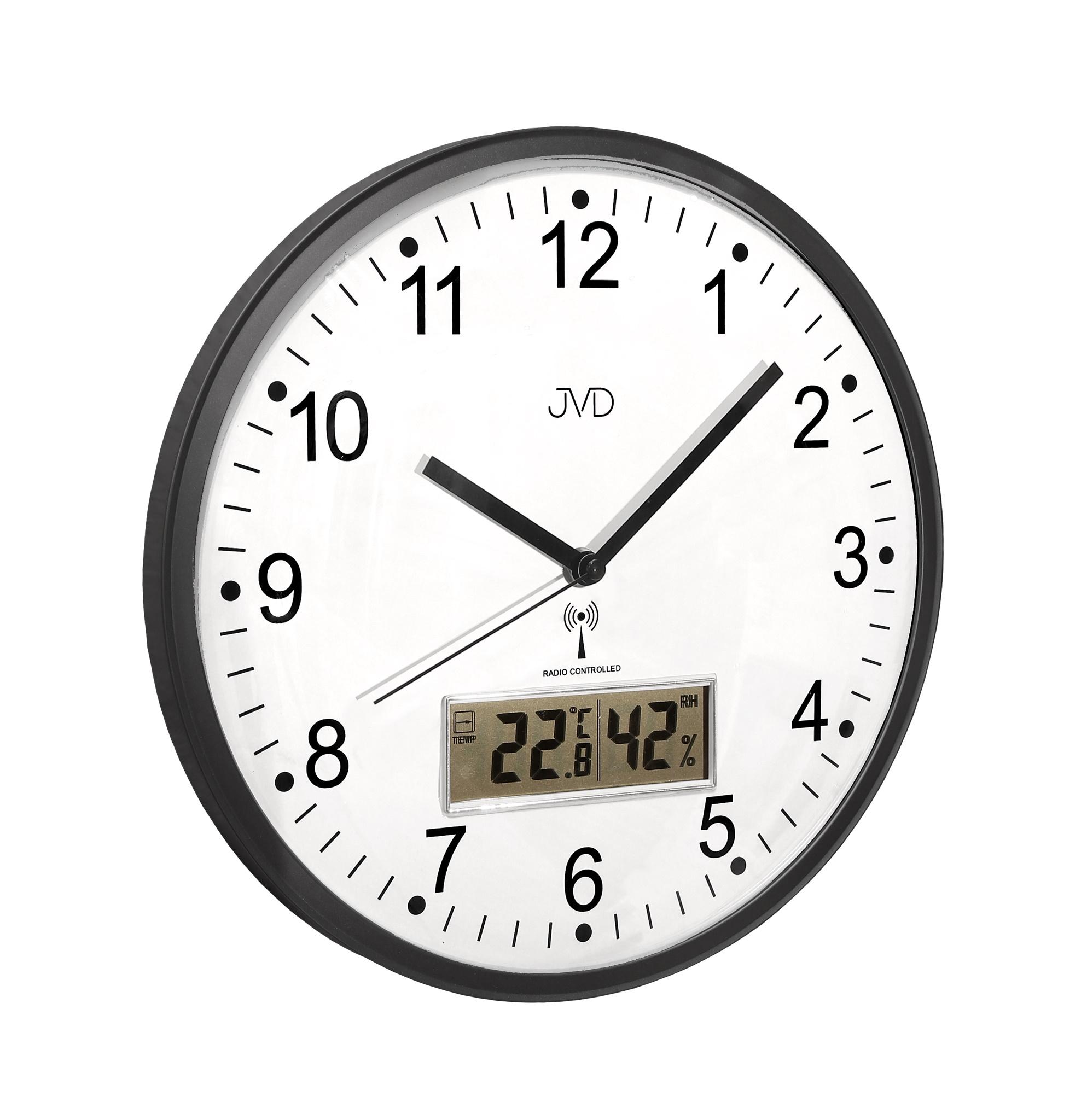 Přesné rádiem řízené nástěnné hodiny JVD RH78.2 (s teploměrem a vlhkoměrem)